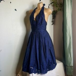 Adrianna Papell blue floral haulter Dress size 4